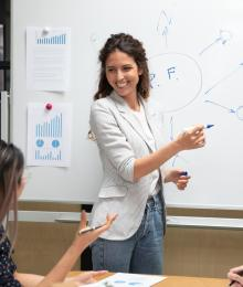 Instructor pointing at a graph that she sketched on a whiteboard