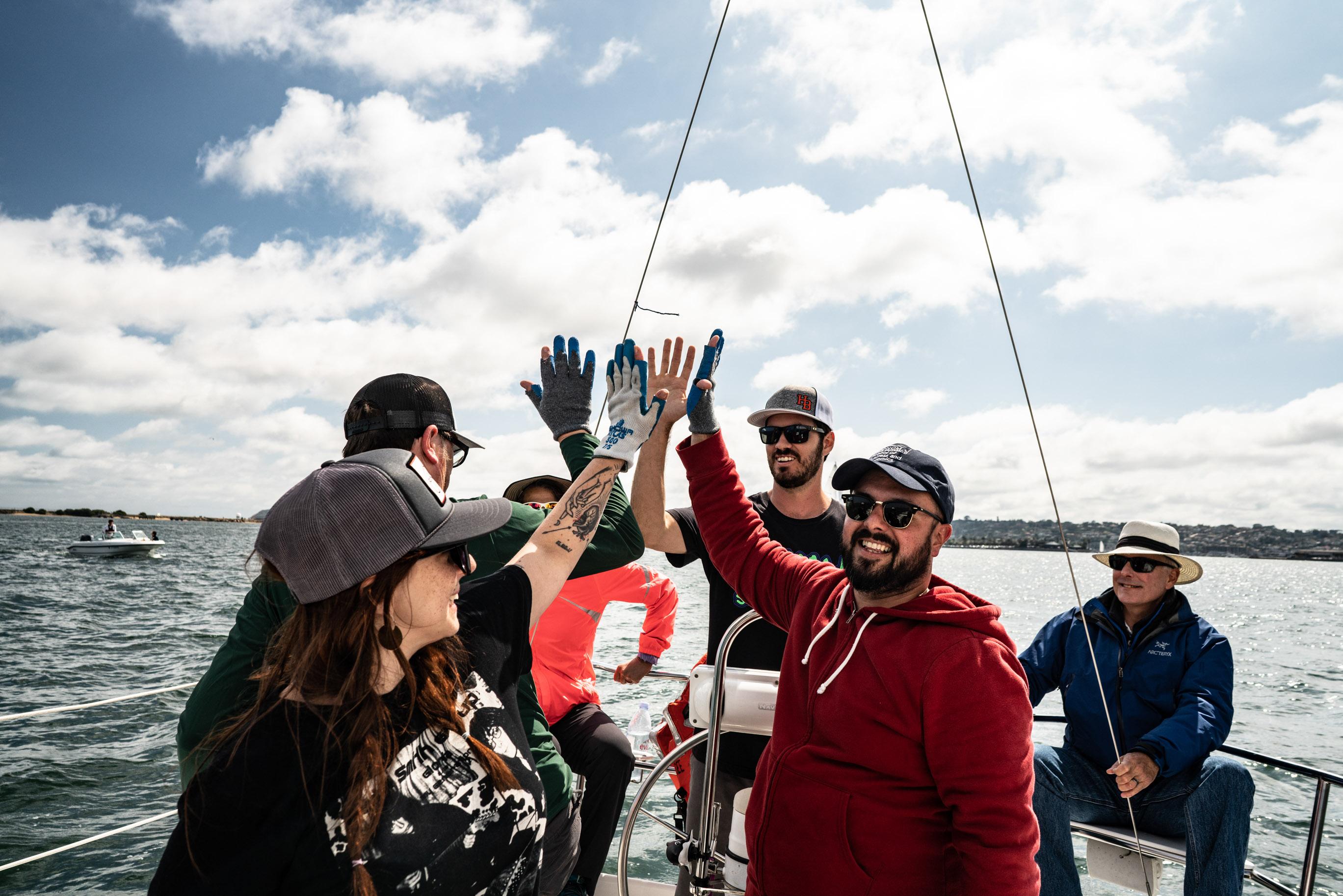 Passengers on a sailboat