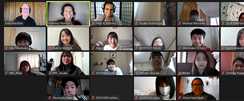 Coordinators and students in a Zoom session
