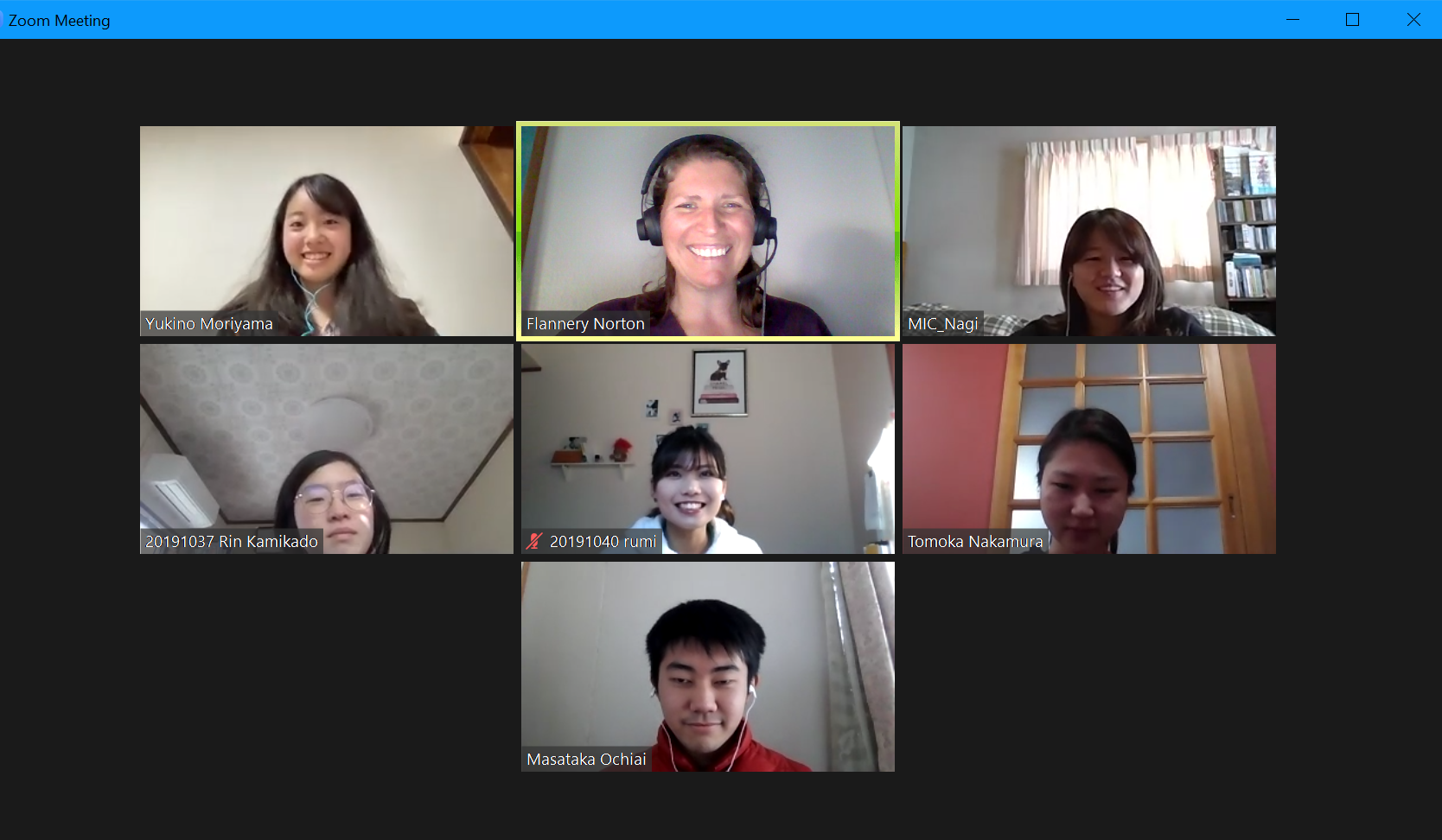 International coordinator and students in a Zoom session
